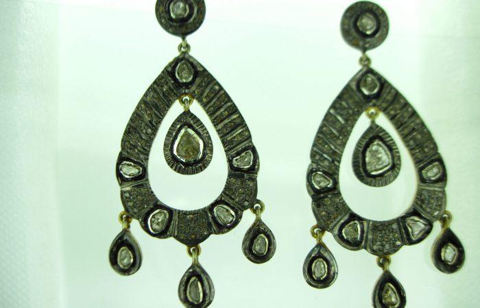 Diamond Polki Earrings Silver
